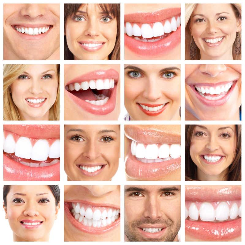 人们微笑的牙齿拼贴