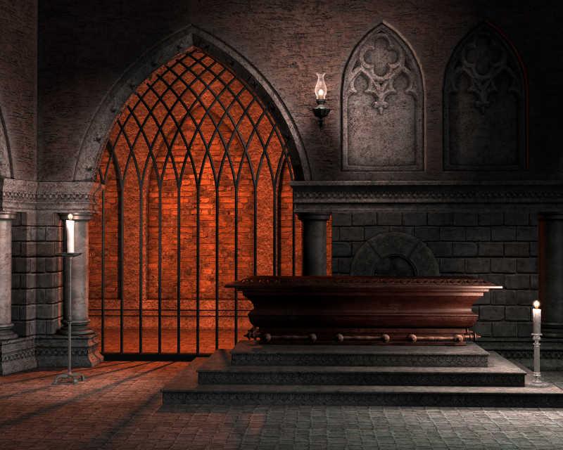 哥特式幻想教堂插画