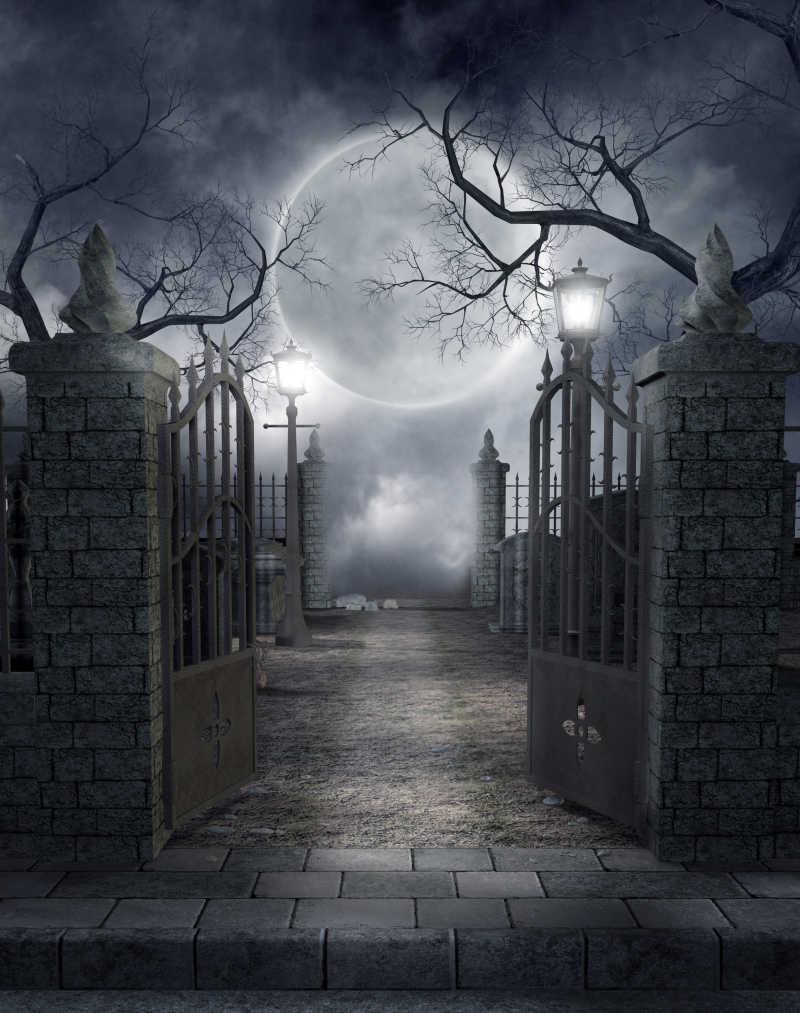 哥特式的墓地风景插画