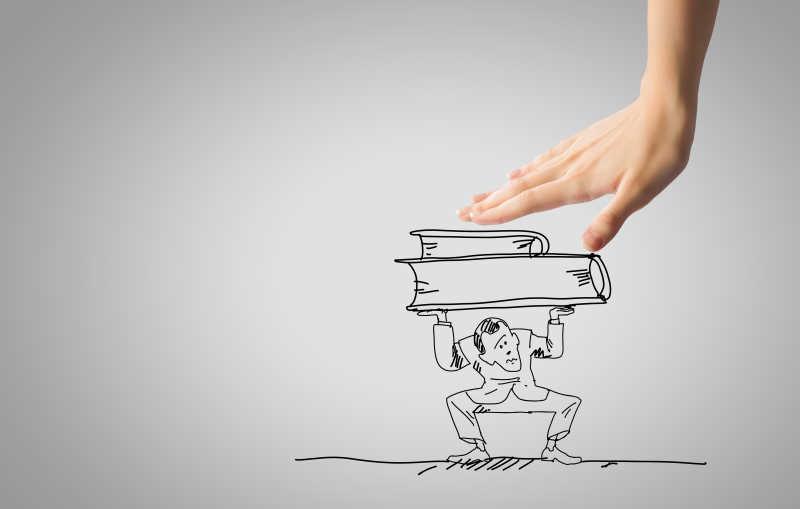 用手压着插画中男人举着的书