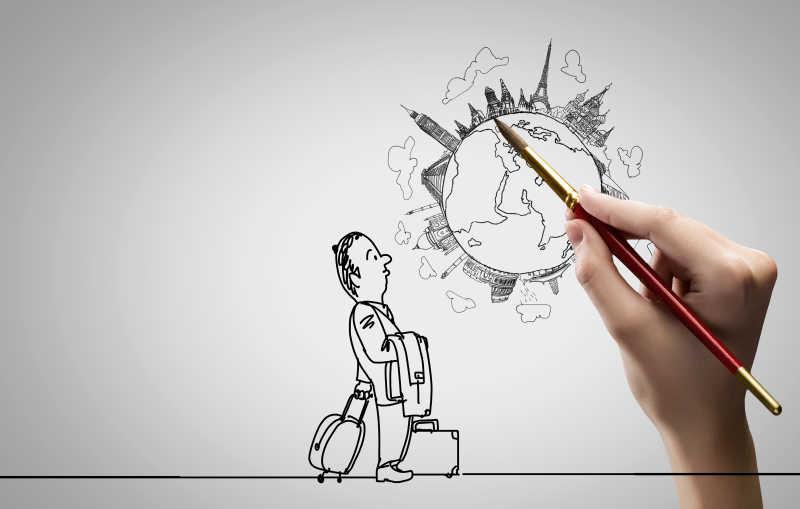 女人笔下画着男人拖着行李望着另一个繁华的星球