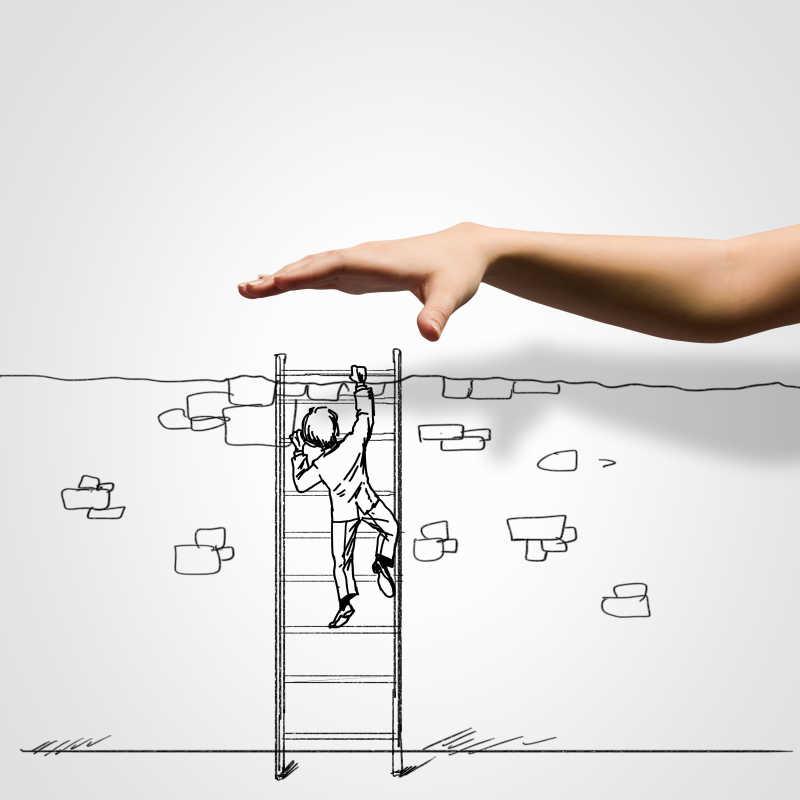准备替插画中男人扶梯子的手