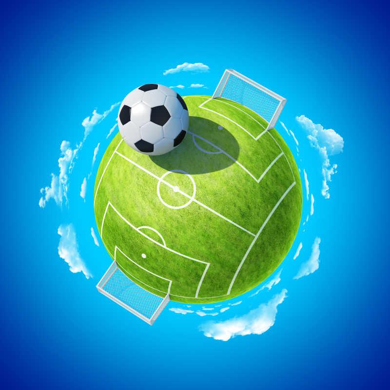 蓝色背景上球形足球场上放着足球的概念图