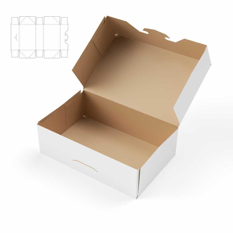 白色背景中附有模线蓝图的盒子
