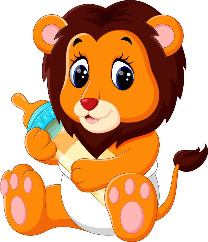 卡通的狮子宝宝矢量插画