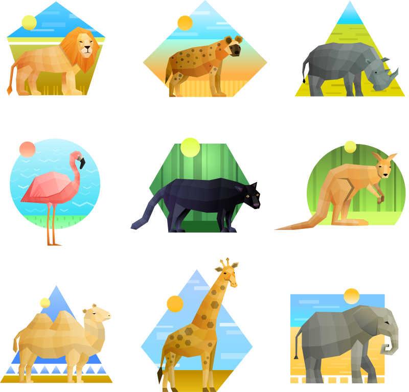 多边形图案的野生动物矢量插画
