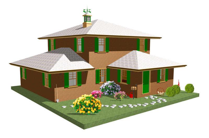 带花园的三维建筑模型