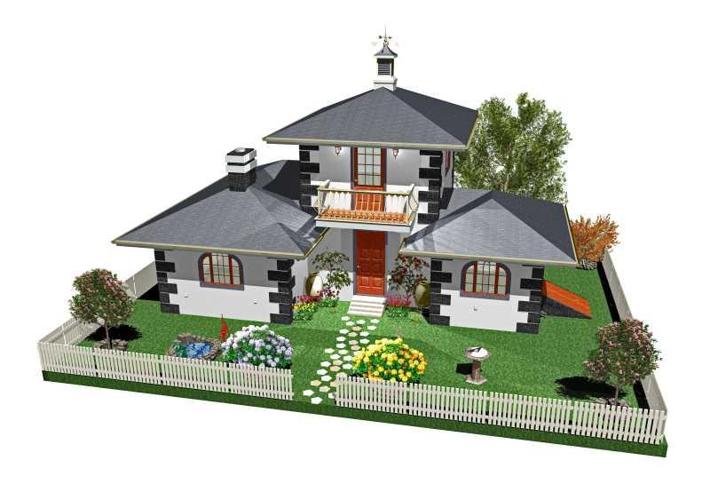 带有花园的3d别墅建筑模型