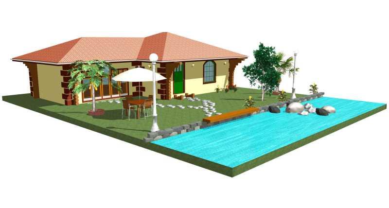 带游泳池的度假别墅模型