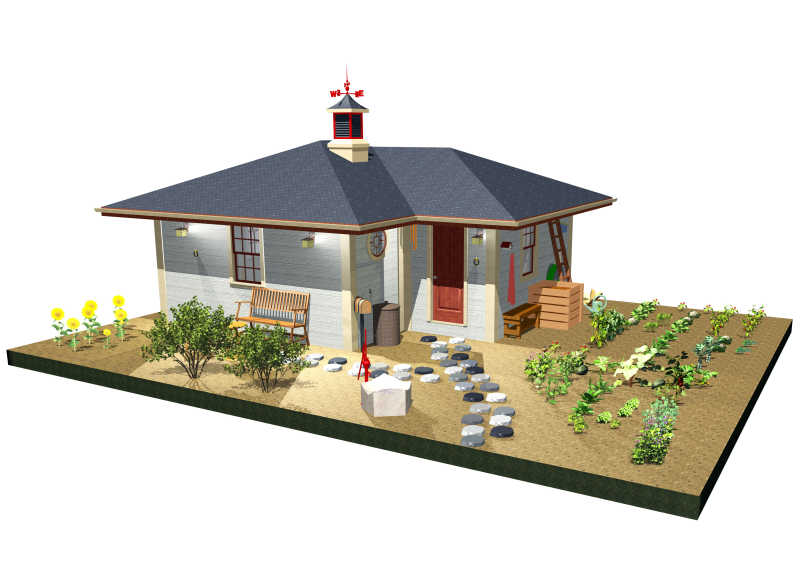带小院的农场模型
