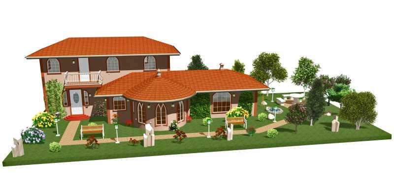 带有花园的三维公寓设计