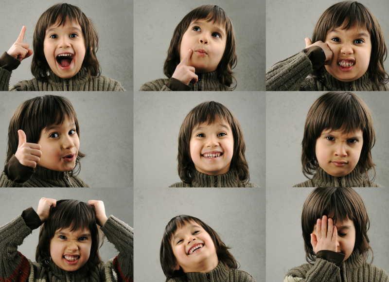 不同面部表情的孩子拼图