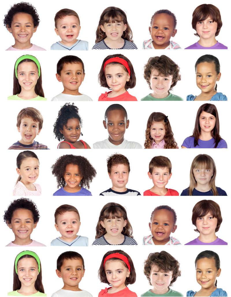 不同国家的孩子面部表情