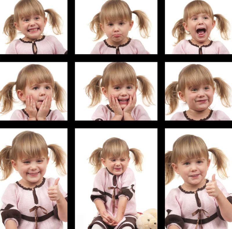 扎着小辫子女孩的不同面部表情拼图