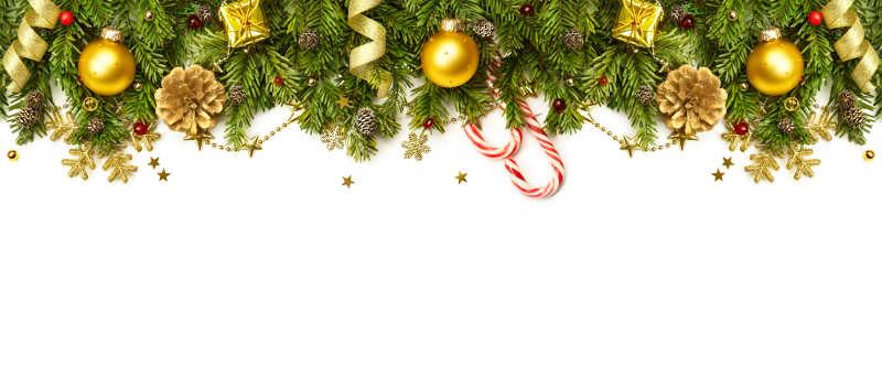 白色背景下的圣诞节装饰品