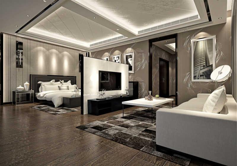 现代卧室的3D渲染