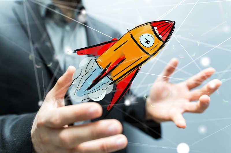 商人手里的火箭启动概念