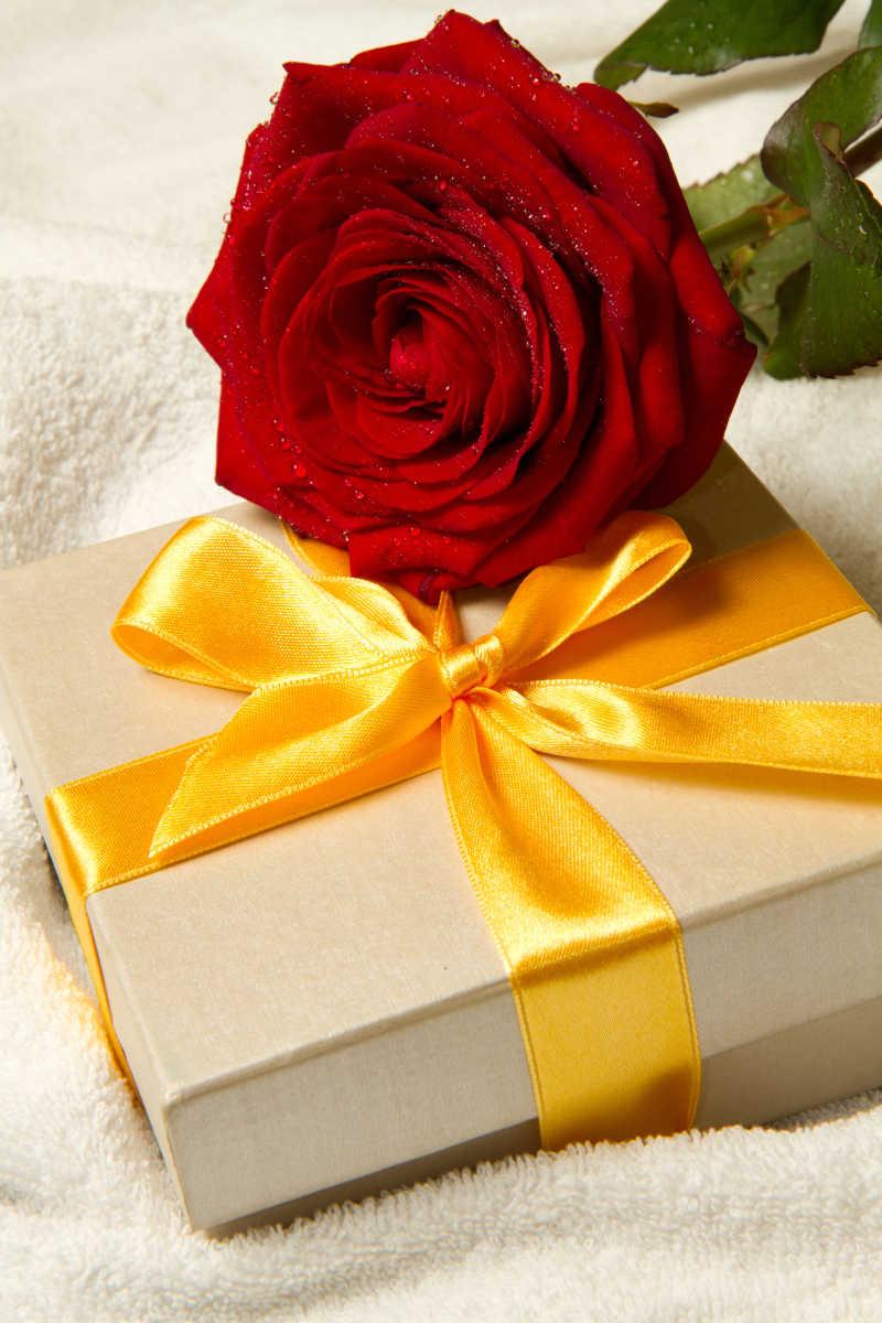 礼品盒和红色玫瑰花