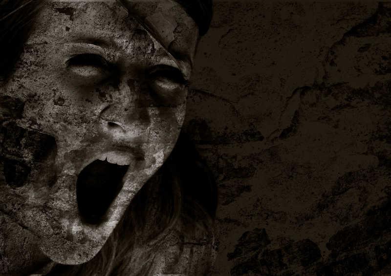 恐怖尖叫的烂脸肖像