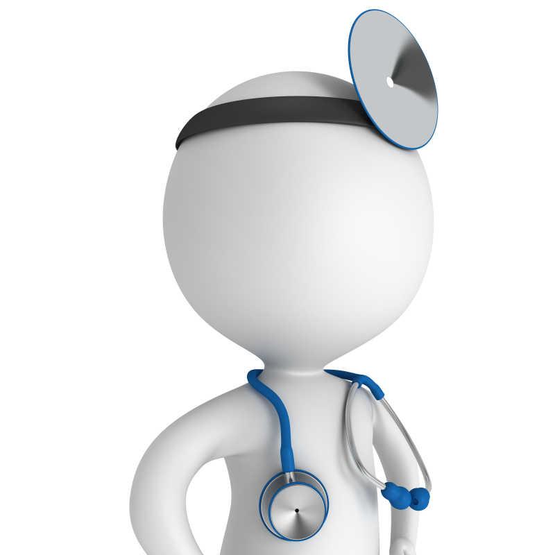 带着听诊器和额镜的医生模型