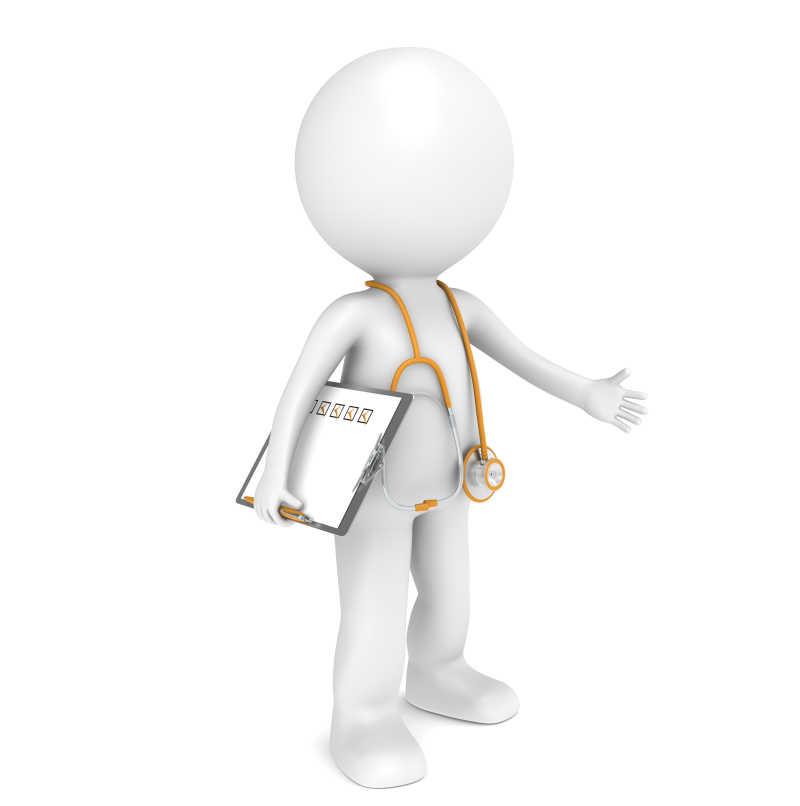 带着记事本和听诊器的医生模型