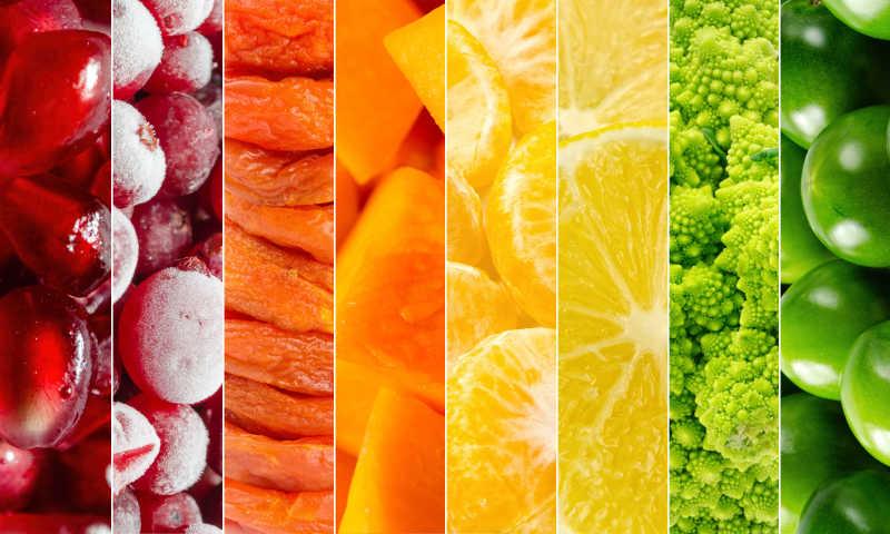 新鲜水果和蔬菜拼贴