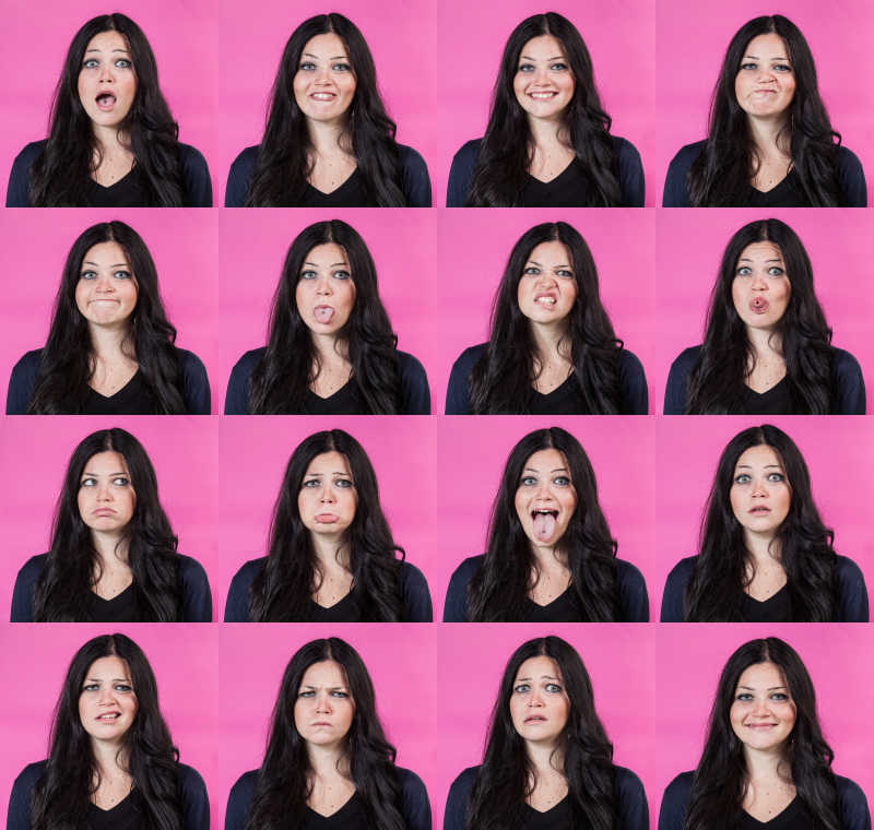 紫红背景下年轻女子的不同面部表情