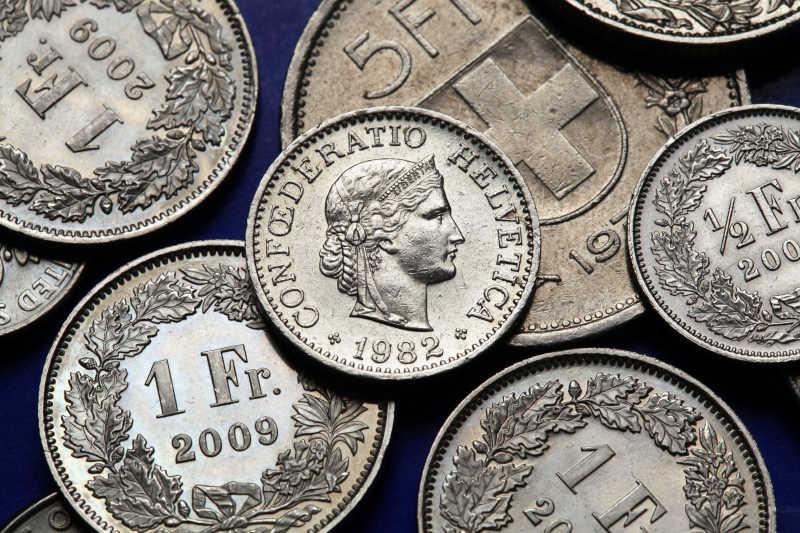 瑞士钱币在瑞士的10分硬币描绘Libertas的头