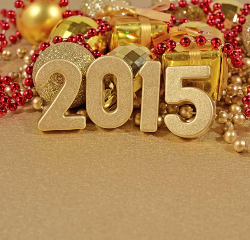 圣诞装饰背景下的金色2015