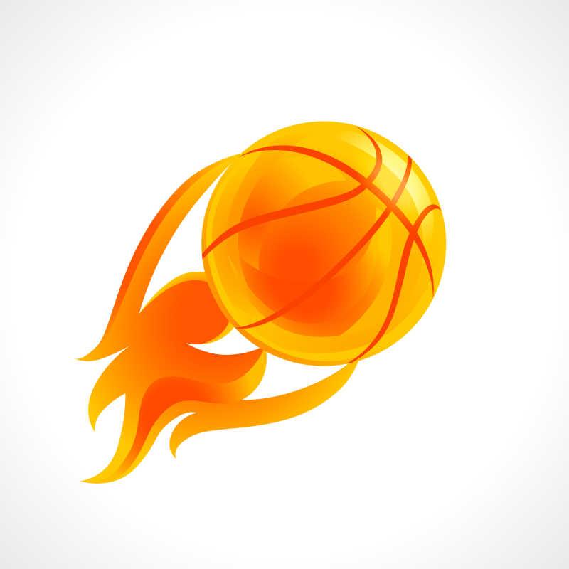 白色背景下篮球火图形辐射概念