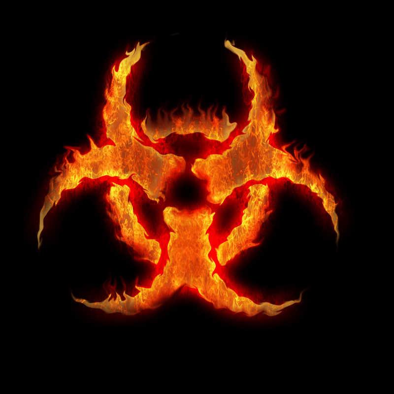 燃烧着的病毒标志
