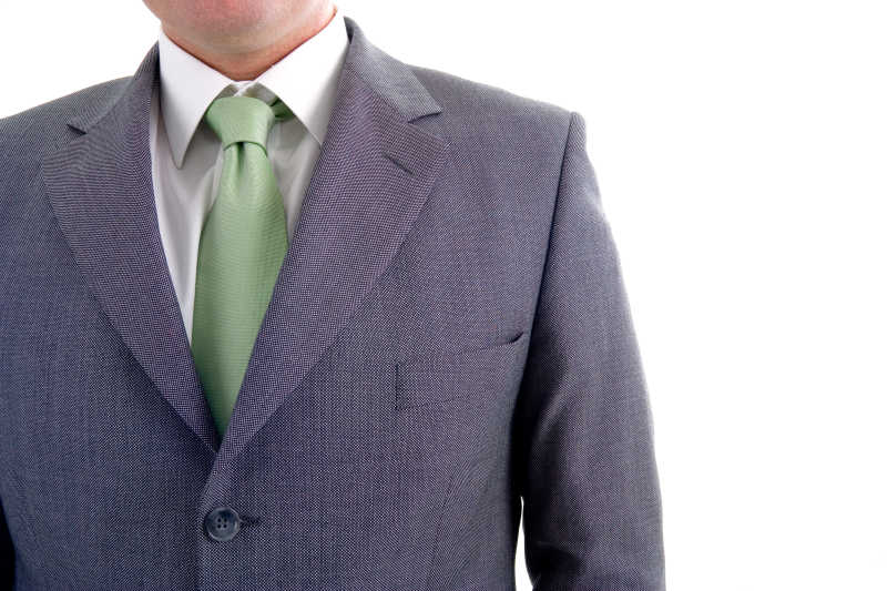 浅绿色的领带搭配灰色条纹西服