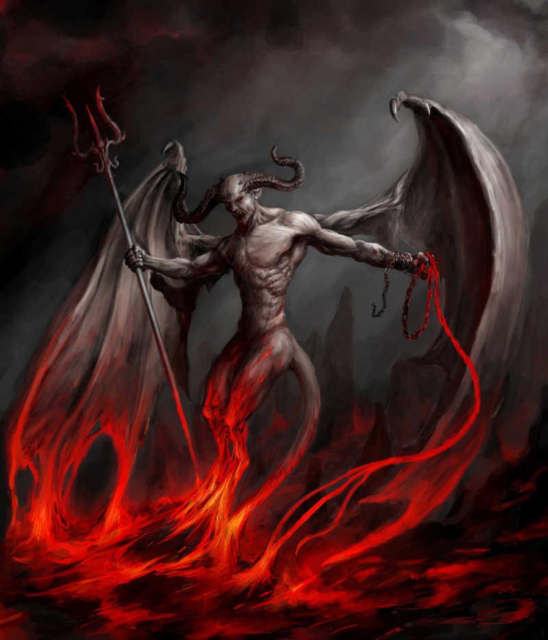 火焰上空的带翅膀恶魔