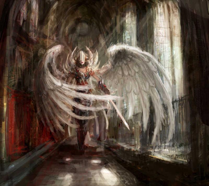 天使般的女孩在大教堂