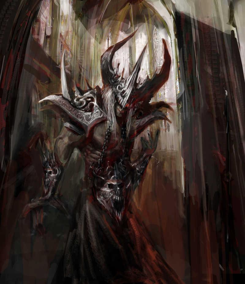 邪恶的生物在大教堂