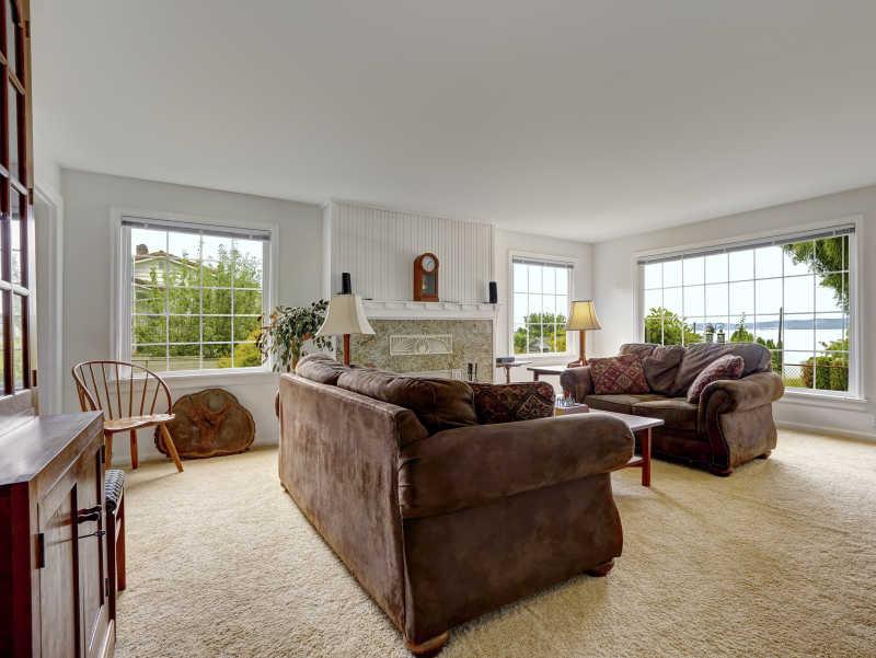 装修精致的客厅里棕色沙发