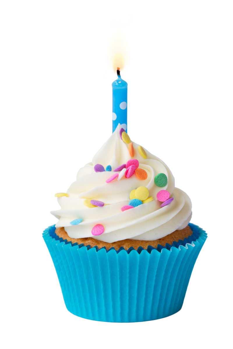 蓝色奶油纸杯蛋糕