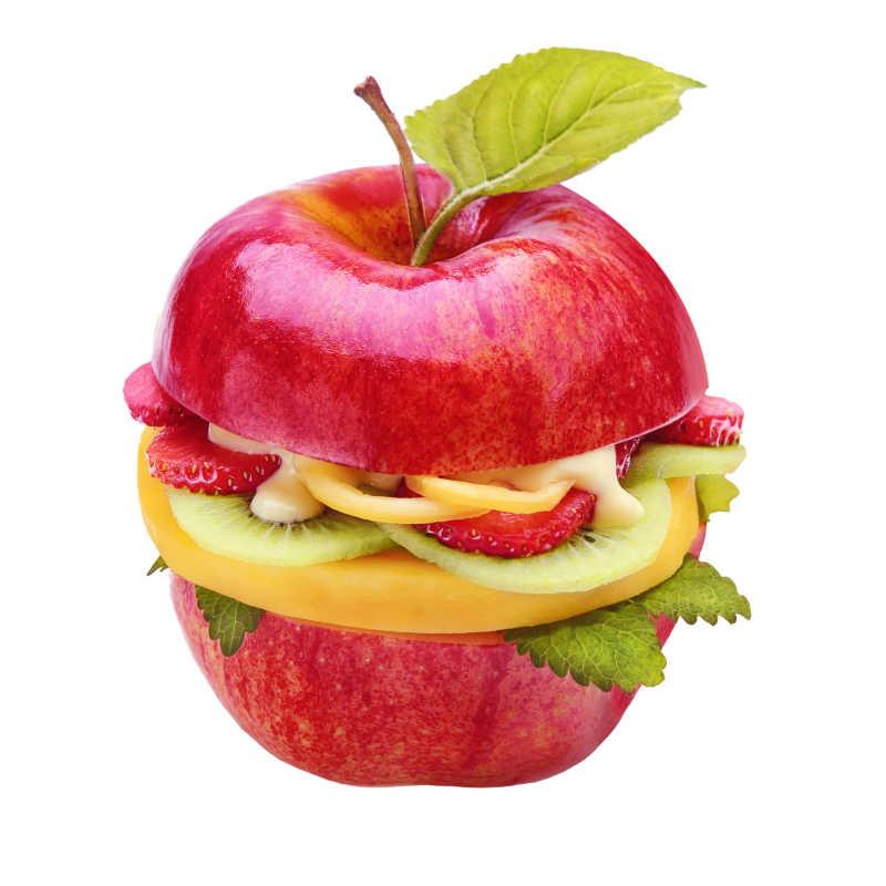 创造健康的多汁的苹果汉堡