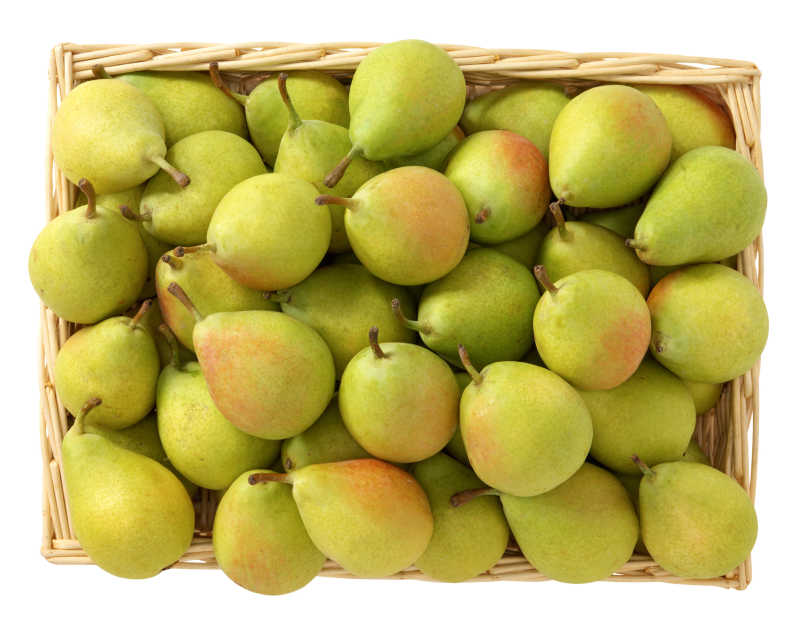 一筐成熟的梨子
