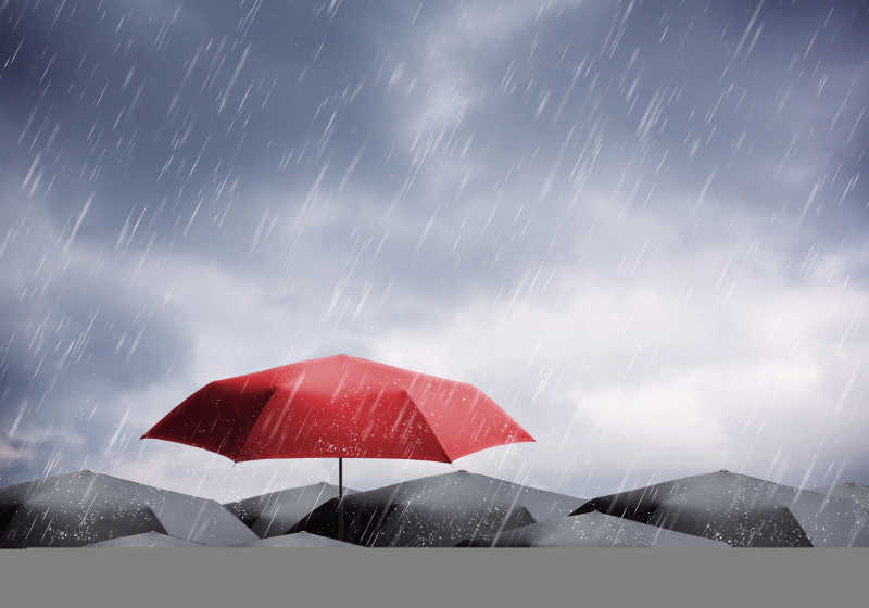 雨中的红色和黑色雨伞
