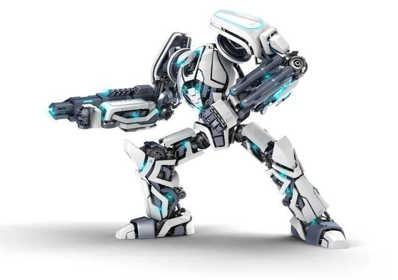 白色背景下的机器人