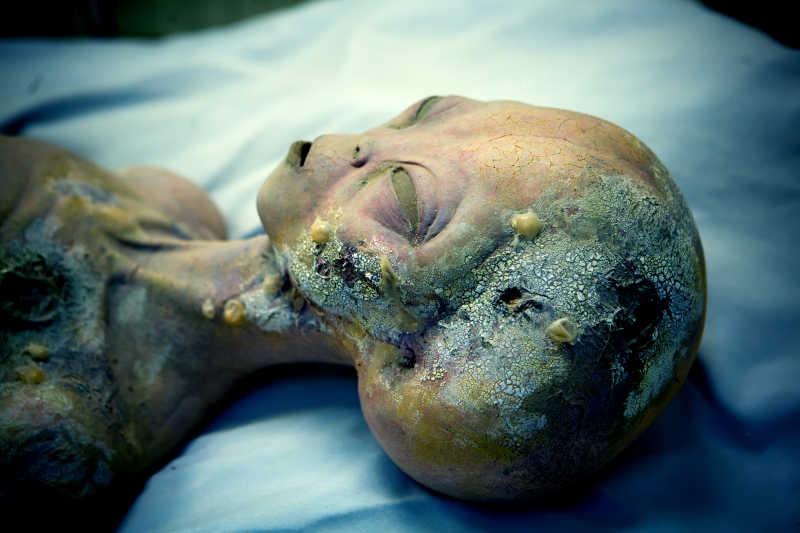 躺在床上腐烂罗斯威尔的外星人