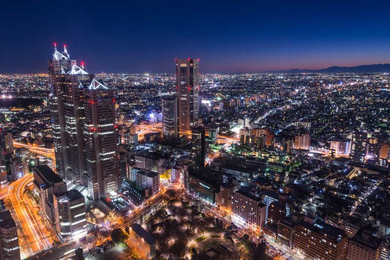 东京城市的夜景