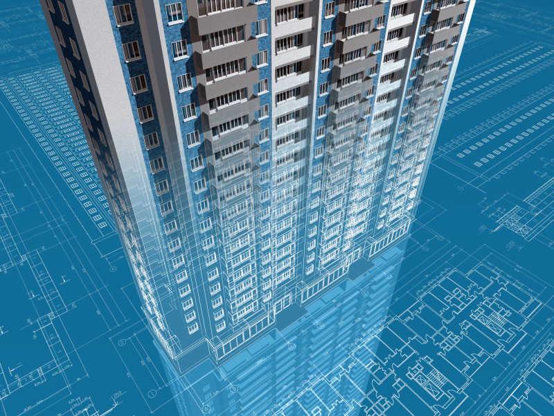 住宅建筑工程的三维图像