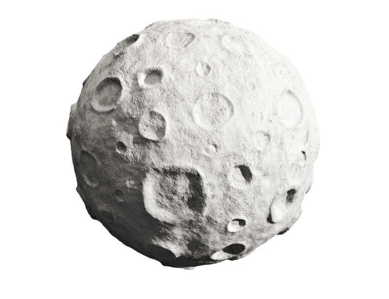 白色背景下3d月球