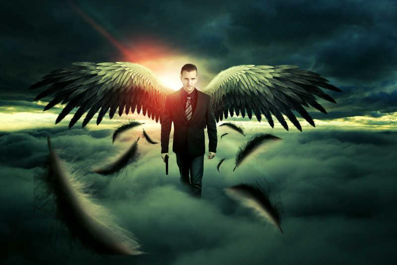 拿着手枪穿着西装的男性天使