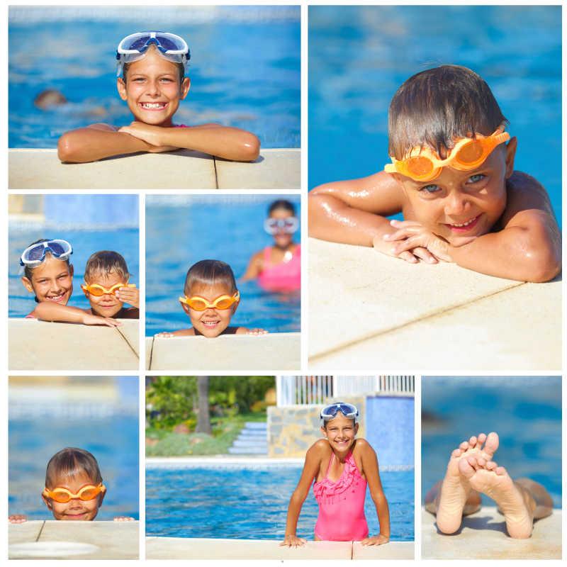 泳池边上的孩子拼贴