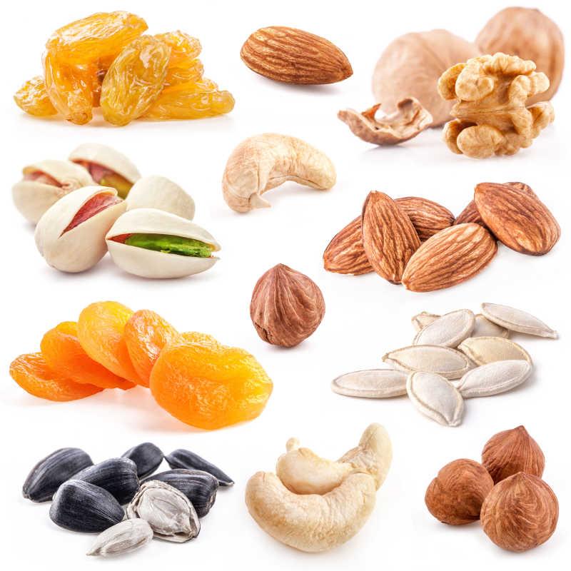 白色坚果和干果的收集