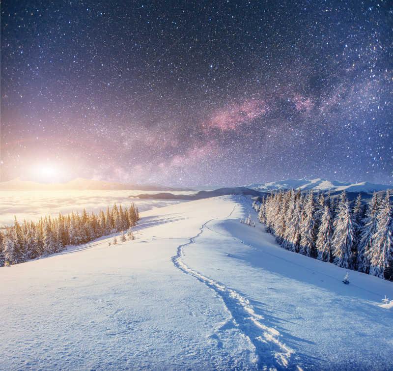 雪地里留着一条细长的道路