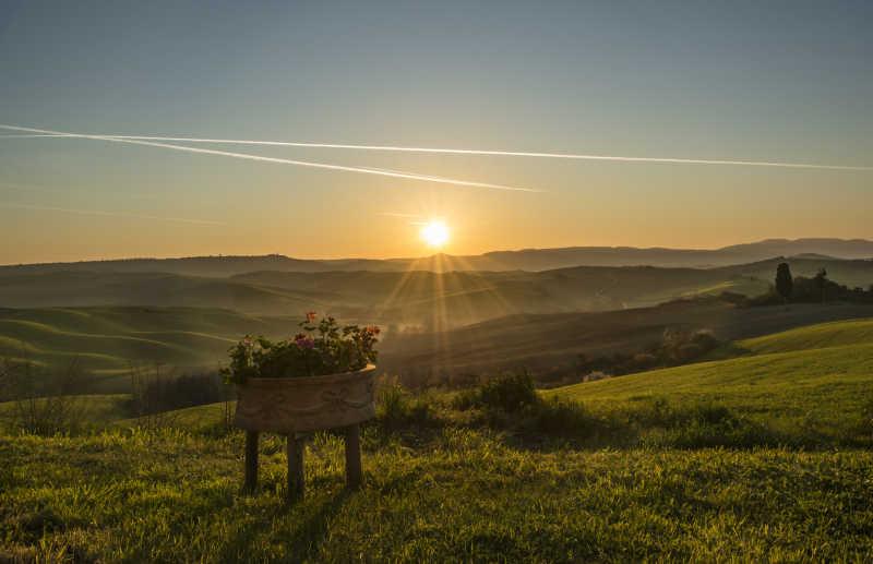 夕阳下广阔的田野